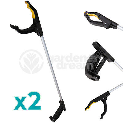 2 X GardenersDream 76cm Litter Picker Rubbish Pick Up Reaching Mobility Tool