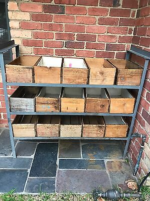 Vintage Industrial Metal Shelving With 15 Wooden Orchard Boxes