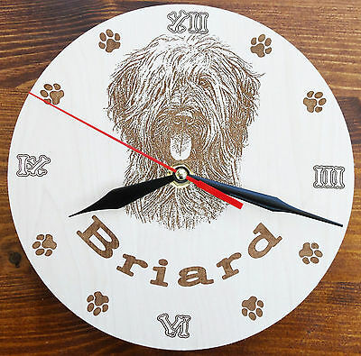 Round Wooden Custom Laser Engraved Briard Wall Clock with dog Name