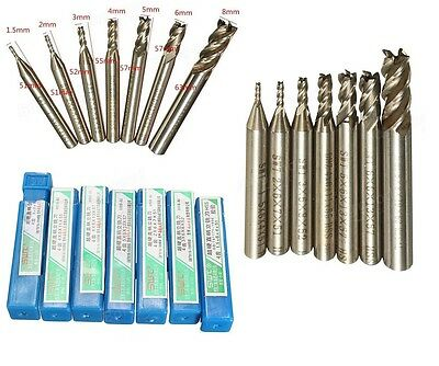 7 x Frese HSS 1.5 - 8 mm, 4 flute. With tracking