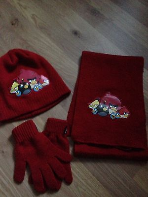 Boys Angry Birds Hat Gloves And Scarf Set Age 4-8yrs