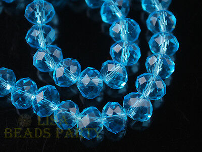 100pcs 4x6mm Faceted Rondelle Crystal Glass Loose Spacer Bead Lake Blue Craft