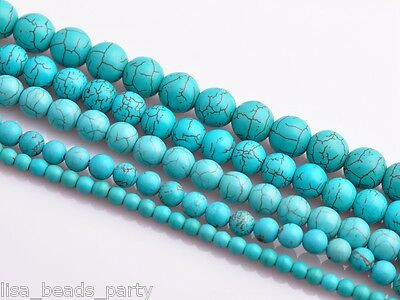 30pcs 6mm Round Green Turquoise Gemstone Jewelry Making Loose Spacer Bulk Beads