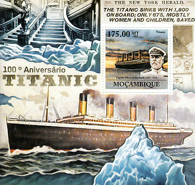 Mozambique 2011 MNH Titanic Cent Launch 1v S/S Ships Boats Edward Smith Stamps