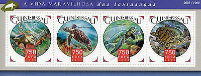 Guinea-Bissau 2015 MNH Turtles 4v M/S Reptiles Hawksbill Green Sea Turtle Stamps