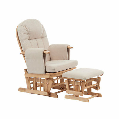 B Baby Nursery Natural Reclining Glider Chair with Beige Cushion