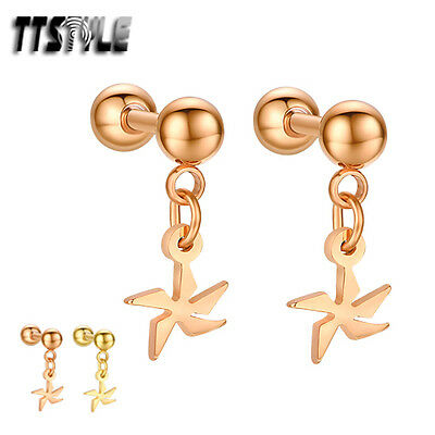 TTstyle Surgical Steel Dangle Cartilage Tragus Snow Earrings Pair Gold/Rose