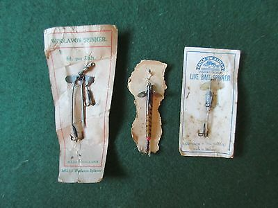 Vintage fishing lures Quill Minnow and bait mounts