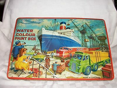 Water Colour Vintage Paint Box Vintage Toy Tinplate 1960s made by Page London