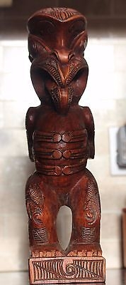 hand carved solid wood Tiki Teko maori carving with paua shell eyes 36cm tall