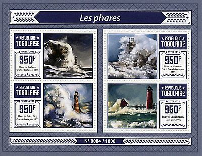 Togo 2015 MNH Lighthouses 4v M/S Whiteford Point Roker Pier Lighthouse Stamps