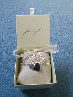Mamas and Papas Famiglia Sterling Silver Baby Diamond Double Heart Necklace