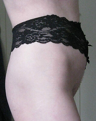 Stunning!  - Bottomless Black Beaded G-String / Thong / Panties - Size 12-14