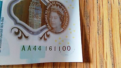 New Five Pound Note AA44 161100