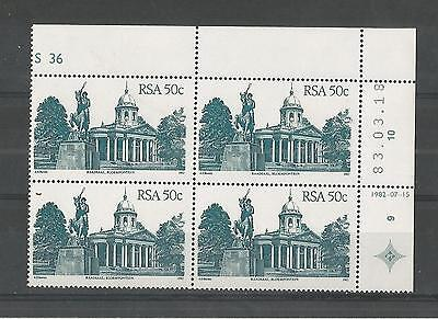 SOUTH AFRICA 1982 MARGIN BLOCK OF FOUR 50c DEFINITIVE SG,525a UN/MM NH LOT 2075A