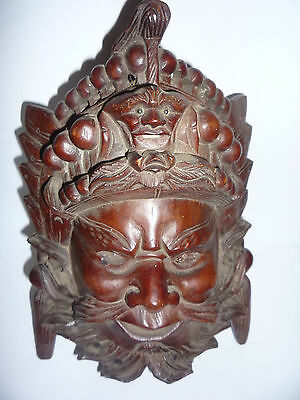 Antique/Old Chinese Wooden Hand Carved Guan Gong Wall Hanging Mask