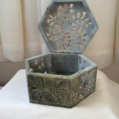 Indian Craft Decorative Carved Soapstone Flower Jewellery Hexagonal Box Gift