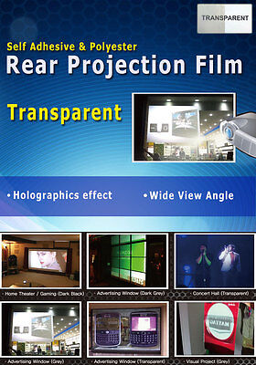 """Transparent, Holographic Rear Projection Film: 50""""(4:3 Ratio- 1000x750mm)"""