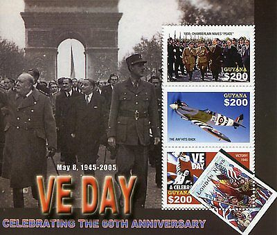 Guyana 2005 MNH WWII VE Day End World War II 3v M/S Churchill De Gaulle Stamps