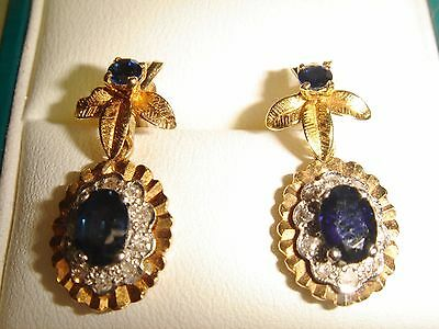 A Gorgeous Pair of Vintage 1977 Solid 18ct Gold Diamond & Sapphire Earrings