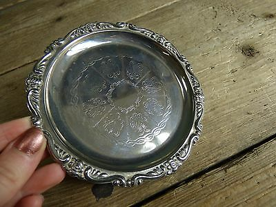 Small Vintage Circular Silver Plated Decorative Plate
