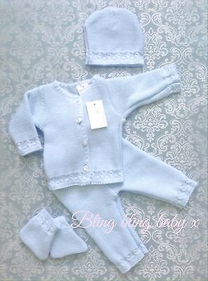 Spanish Baby Boys Knitted Pram Set 4  Piece Outfit 0-3 Months Boxed Romany