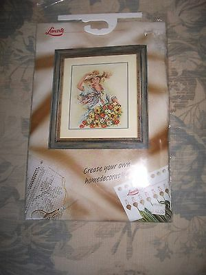 Lanarte cross stitch kit.  34565  girl with flower basket. discontinued design,