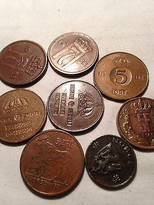 Joblot of 8 very old Ore - Norwegian? coins - see all pictures!