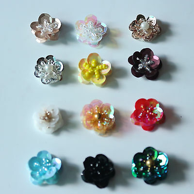 """4/5"""" Sequins Beaded Flowers Sew on Applique Patch Decor #301"""