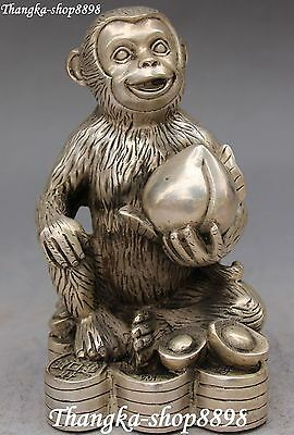 Chinese Silver Carving Wealth Yuanbao Hold Peach Monkey Monkeys Animal Statue