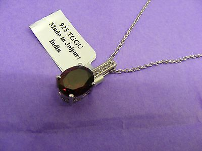 Gorgeous Red Garnet, White Topaz & Sterling Silver Pendant Necklace