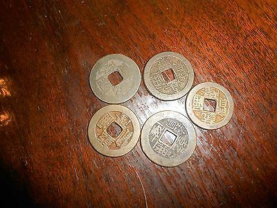 Nice Lot Of 5 Old China  Cash Coins