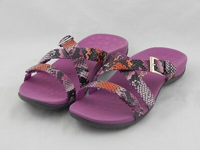 Vionic by Orthaheel Kira Pink Snake Orthotic Slide Sandals PREOWNED