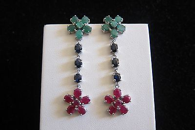 sale!!!Natural red Ruby Emerald Sapphire 925 sterling silver flower earrings