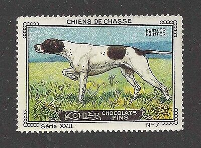 1931 France Cailler Kohler Dog Art Trade Card Pointing Field ENGLISH POINTER