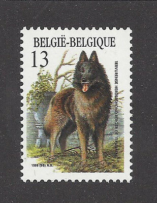 Dog Art Full Body Study Portrait Postage Stamp BELGIAN TERVUREN Belgium 1986 MNH