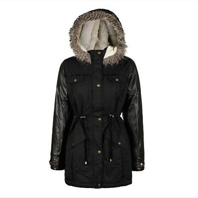 NEW Girls Kids Boohoo Black Parka Jacket Coat School Winter Age 5 6 7 8 9 10 11