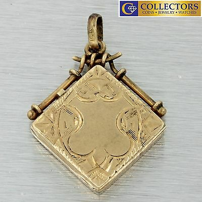 1880s Antique Victorian 14k Solid Yellow Gold Engraved Carved Locket Pendant