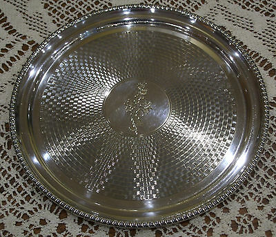 Hand Engraved Silver Plated Circular Drinks Tray