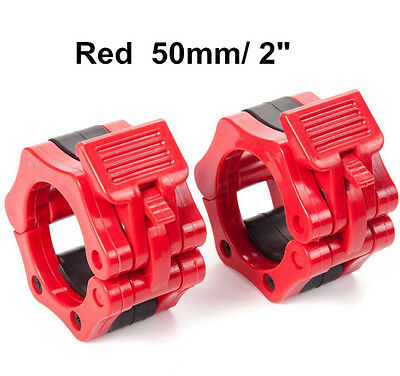 50mm A Pair Lock Jaw Collars Olympic Barbells Muscle Clamp Bar Lockjaw 2'' Red