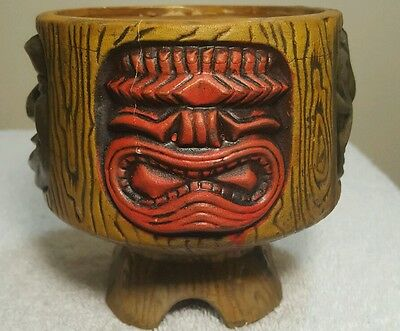 Mid-Century Rare Vintage Orchids of Hawaii Painted Four Face Tiki Mug Bowl
