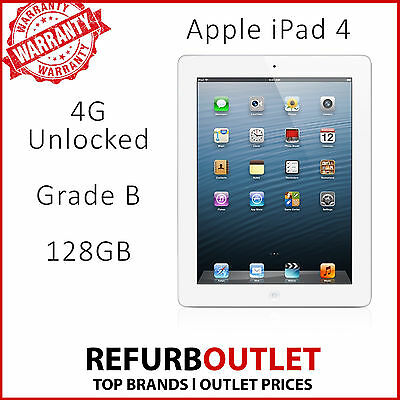 Apple iPad 4th Generation 128GB, Wi-Fi + Cellular (Unlocked), 9.7in - White