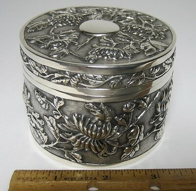Antique WANG HING 900 SILVER BOX CHRYSANTHEMUMS SIGNED CHINESE EXPORT