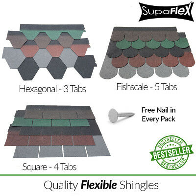 Roofing Felt Shingles | Shed Roof Felt Tiles | Square, Fishscale & Hexagonal