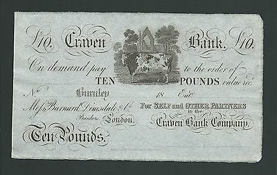 Craven Bank £10 18xx for Burnley branch . Unissued Outing 366 GDEF
