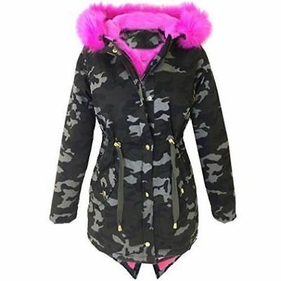 NEW Girls Pink Fur Hood Parka Jacket Coat School Khaki Age 5 6 7 8 9 10 11 12 13