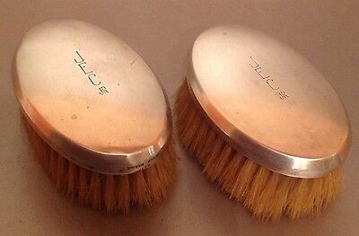 2 Vintage Shreve & Co. Sterling Silver Grooming Clothes Brush Pair Monogrammed