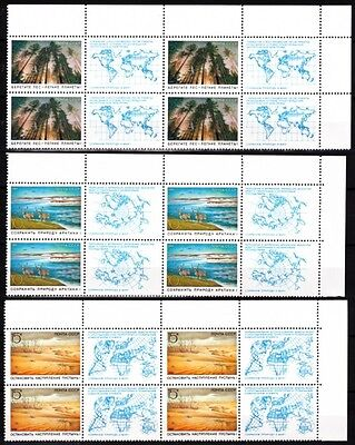 RUSSIA/USSR 1989 Nature: Arctic, Forest, Desert, Maps. BLOCKS of 4 pairs, MNH