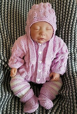hand knitted reborn baby outfit 0-3 mths 20in reborn