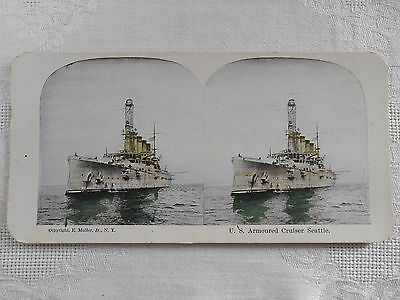 ANTIQUE Stereoview U.S ARMOURED CRUISER SEATTLE MILITARY SHIP StereoCard MULLER